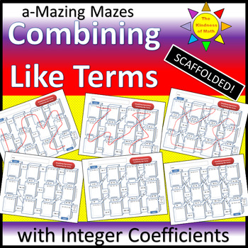 a-Mazing Mazes: Integer Coefficients - Combining Like Terms