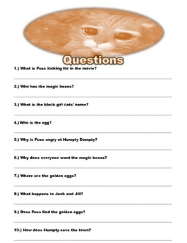 """!a """"Puss and Boots"""" movie worksheet"""