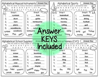 alphabetical order