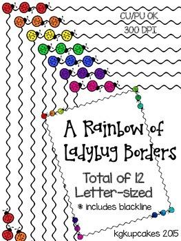 a rainbow of ladybug borders
