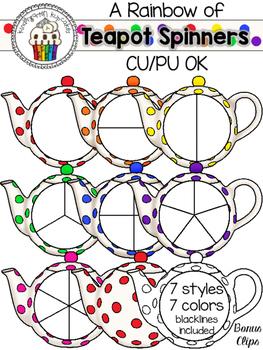a rainbow of teapot spinners with bonus clips