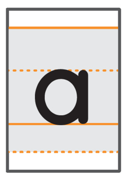 a-z A6 flashcards with upper & lower solid guide lines