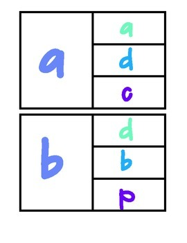 a-z Lowercase Match Up Clip Cards