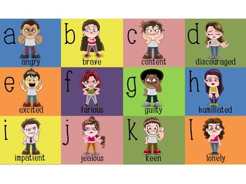 abc's of emotions poster, kinds of feelings alphabet.