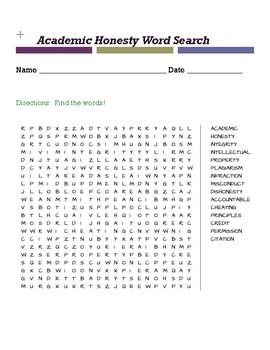 academic honesty word search