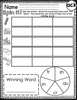 ack Word Family Worksheets