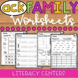 ACK Word Family Worksheets - ACK Family Worksheets - ACK Worksheets