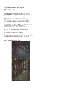 """""""Acquainted With the Night"""" Poetry Activity"""