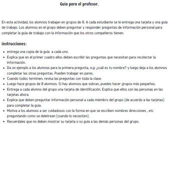 actividad información personal / Personal information activity in spanish.