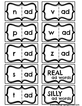Short a - ad Word Family Activities
