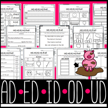 Ad Ed Id Od Ud Worksheets Cut And Paste Sorts Cloze Read