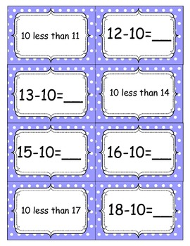 10 more 10 less:  Add and subtract by 10s