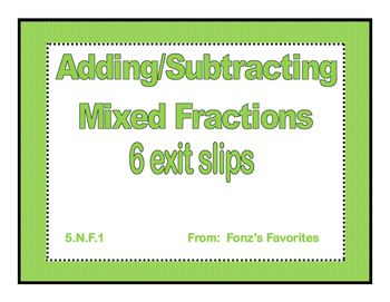add/sub mixed fractions exit slips