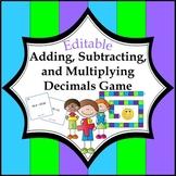 Decimals Game: Add, Subtract, and Multiply Decimals