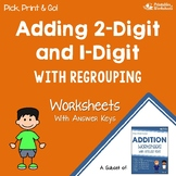 Adding 2 Digit and 1 Digit, Addition with Regrouping Worksheets