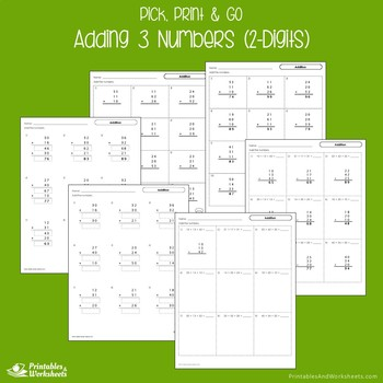 Adding Three 2 Digit Numbers Worksheets, Adding 3 More Numbers Sheets