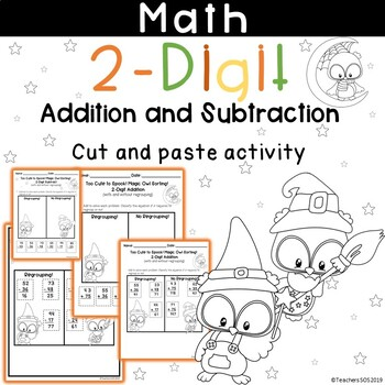 adding and subtracting 2-digit with regrouping Halloween Cut and Paste Activity