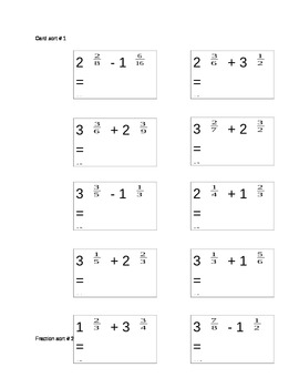 adding and subtracting fraction equivalency card sort