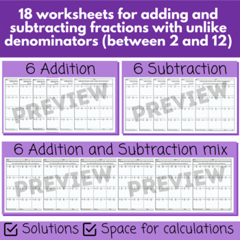 Adding and subtracting fractions with unlike denominators worksheets