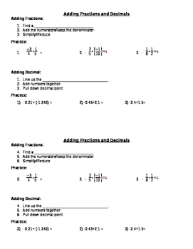 adding fractions and decimals notes