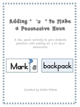 adding 's to nouns, possessive nouns, easy possessive introduction
