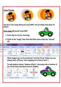 adding shadows and 3D effects in Microsoft Word