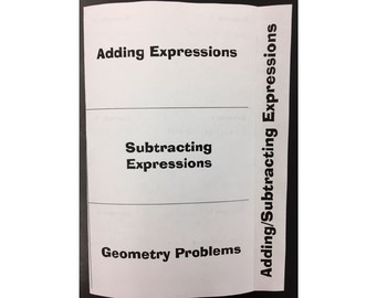 adding subtracting linear expressions (foldable)