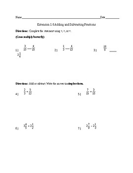 adding/subtracting fractions HW
