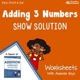 3 Addends Addition Worksheets, Adding Three Numbers Activity Practice Sheets
