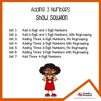 3 Addends Addition Worksheets Adding Three Numbers Activity