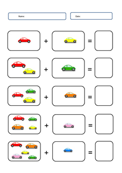 addition worksheet cars theme