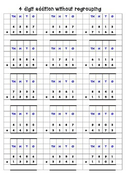 addition 3 and 4 digit addition with answers and grids