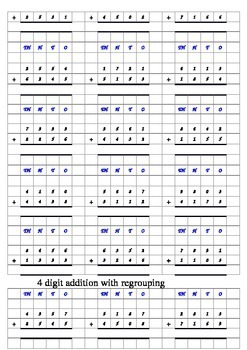 addition 3 and 4 digit addition with answers and grids EDITABLE!!!!!!!!