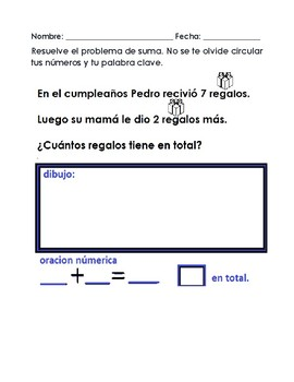 addition Word Problems spanish/Problemas escritos de suma