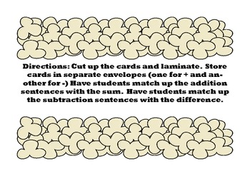 addition and subtraction matching game with recording sheet