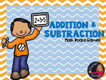 addition and subtraction math fact board game math center