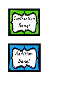 addition and subtraction pop / bang! printable
