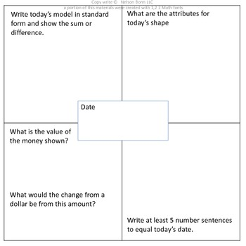 1st Grade & 2nd Grade Math Calendar - add & sub, money, 2D & 3D shapes