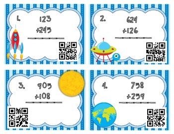 QR Code math center addition differentiated double digit triple digit