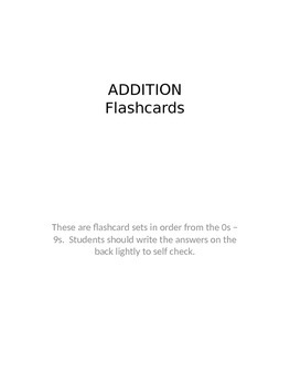 addition flashcards sg