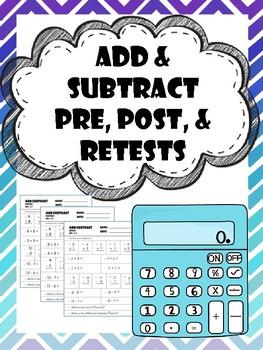 addition-subtraction pretest, posttest, and retest