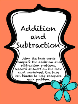 addition/subtraction task cards
