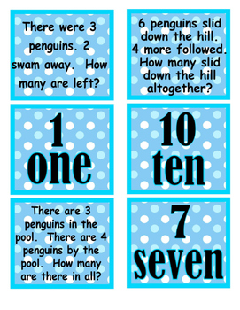 addition/subtraction word problem game cards
