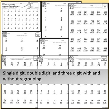 Special Education MATH assessments or RTI: Addition and Subtraction computation