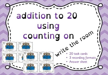 addition to 20 using counting on - write the room game