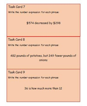 addition/subtraction equation task cards