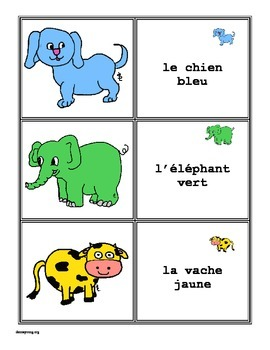 adjective placement French (for review or games such as....)