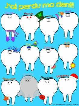affiche des dents perdues avec les mois de l'année