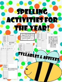 affixes spelling/word work lists and activities