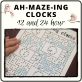 Math mazes to practice 12/24 hour time analogue and digital